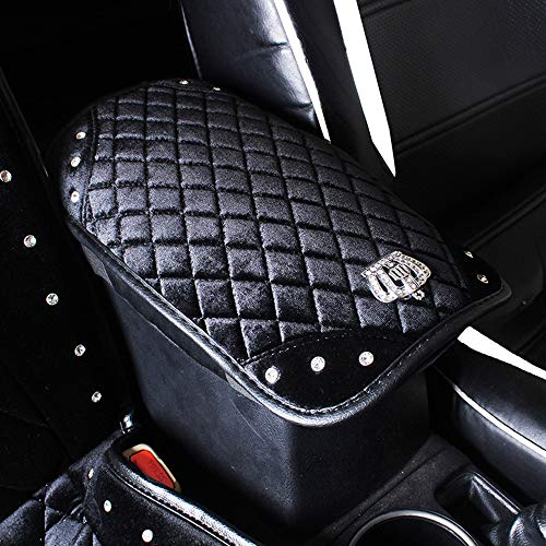 Alusbell Leather Steering Wheel Cover Bling Bling Rhinestone Suitable 15 Inch Girls Lady (Center Console Cover)
