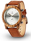 LAiMER Men's Chronograph Wooden Watch PAUL – Wrist Watch made of natural Zebrano Wood - Leather Strap, natural Beauty