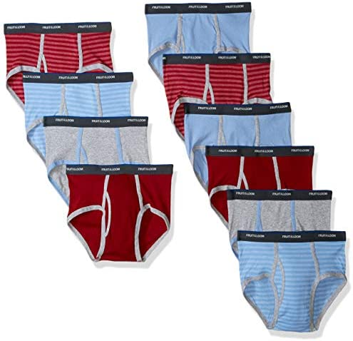 Boys' Big Cotton Brief (Multipack), Assorted (Pack of 10), X-Large