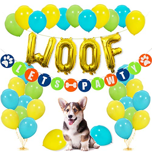 Dog Birthday Party Supplies - WOOF Balloons, Lets Pawty Banner, 30pcs Light Blue Fruit Green Yellow Latex Balloons for Pet Dog Puppy Birthday Decorations