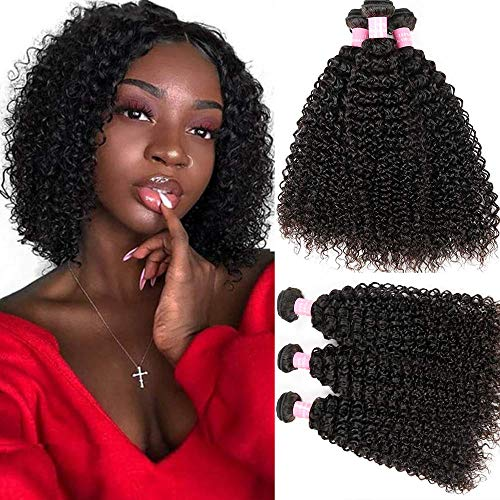 Kinky Curly Hair Grade 8A Curly Weave Human Hair Bundles Unprocessed 100% Human Hair Brazilian Kinkys Curly Hair 3 Bundles Hair Extensions Natural Black Color(8 10 12) (Best Kinky Curly Hair)