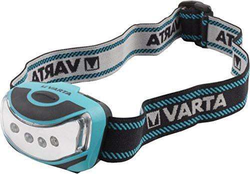 Varta 4x LED Outdoor Sports Head Light 3AAA, robustes (Falltest 2m) Gehäuse, 2 Leuchtstufen, kompakt und leicht
