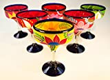 Mexican Glass Margarita Hand Painted Flowers, Mixed, 14 Oz, Set of 6