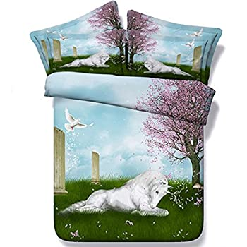 Image of Alicemall 3D Unicorn Bedding White Horse and Grassland Scenery 5 Pieces Comforter Set, Queen Size (2 Pillowcases, Flat Sheet, Comforter, Duvet Cover) (Queen, Green) Home and Kitchen