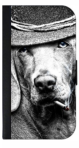 Dog Smoking A Cigar   Wallet Style Flip Phone Case Compatible With S3 S4 S5 S6 S6edge S7 S7edge S8 S8plus   Select Your Compatible Phone Model