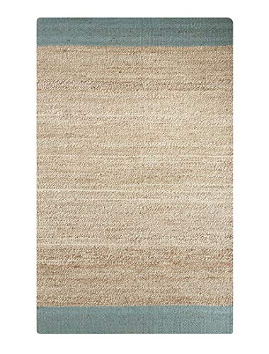 Diva At Home 2' x 3' Cream and Blue Mallow Design Area Throw Rug