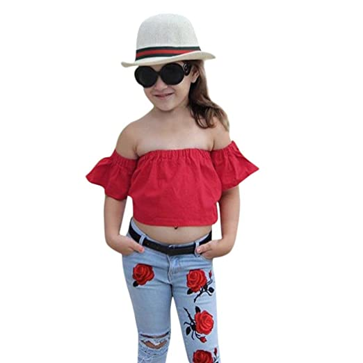 62e94c4e4c29e Amazon.com: Minisoya Toddler Infant Baby Girls Off Shoulder Crop ...