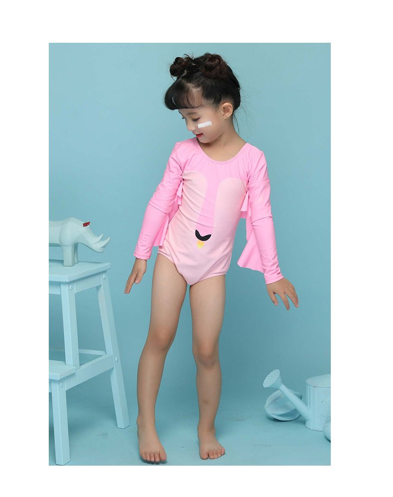 Delight Girls Swimsuits Long Sleeve Baby Girls Swimwear One Piece Clothing Pink 3-4 Years by Delight (Image #6)