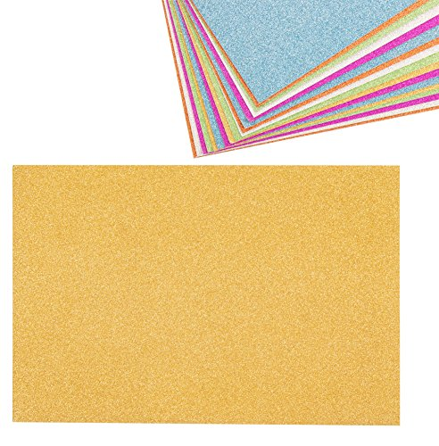 Glitter Cardstock Paper - 24-Pack Multicolored Glitter Paper for DIY Craft Projects, Birthday Party Decorations, Scrapbook, 6 Colors, Double-Sided, 250GSM, 8 x 12 inches (Shimmer Card)
