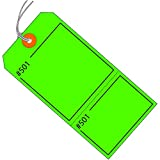 Partners Brand PG26211  Claim Tags, Consecutively Numbered, Pre-Strung, 4 3/4'' x 2 3/8'', Green (Pack of 1000)