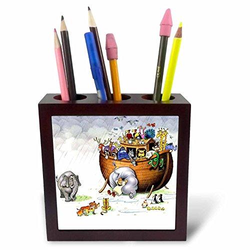 Biblical - Noahs Ark - 5 inch tile pen holder -