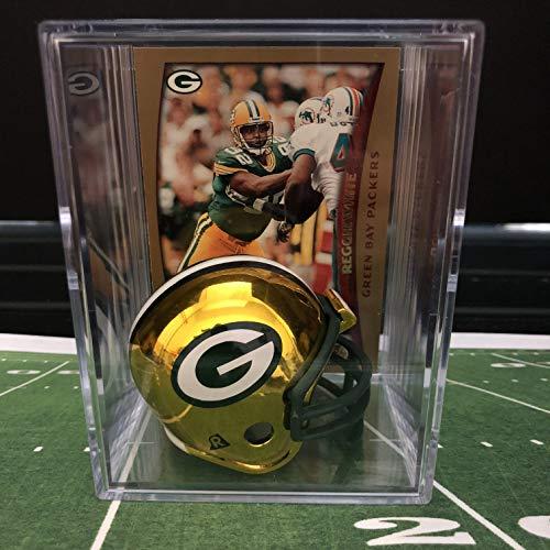 (Chrome Edition Green Bay Packers NFL Helmet Shadowbox w/Reggie White card)