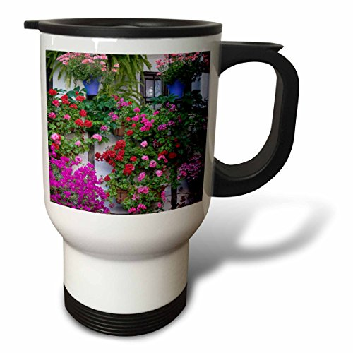 3dRose Danita Delimont - Flowers - Spain, Andalusia. Cordoba. Flowers during the Festival of the Patio. - 14oz Stainless Steel Travel Mug (tm_277892_1) by 3dRose