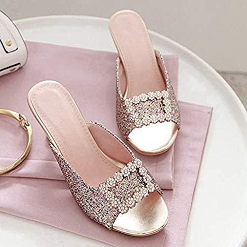 golden Glitter on Sparkle Slides Pumps Clogs Women's T Sandals Bling JULY Heels Slip Rhinestone Mules Dress Flowers Shoes XUXTBfnH
