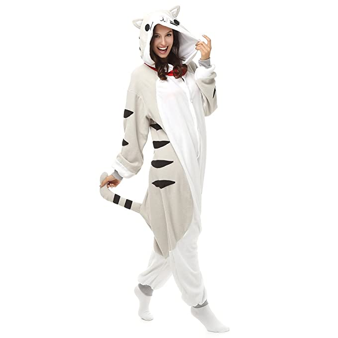 Adult Chi s Cat Onesie Polar Fleece Pajamas Cartoon Sleepwear Animal  Halloween Cosplay Costume Unisex (L ce5ad80d7