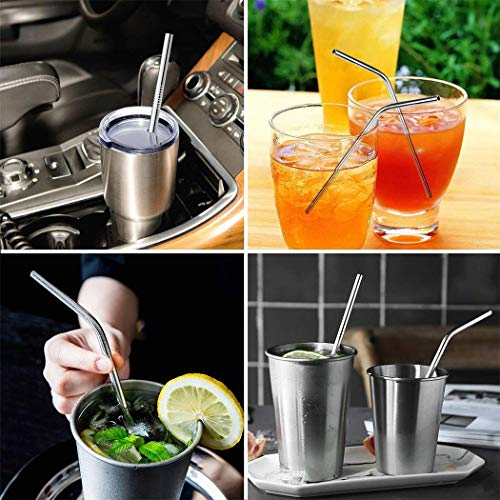Xubox Stainless Steel Metal Straws, Set of 8 Ultra Long 10.5'' Reusable Metal Drinking Straw for 30oz 20oz Tumblers Ramblers, Fit All Yeti Ozark Trail SIC RTIC Tumbler (4 Straight|4 Curved|2 Brushes)