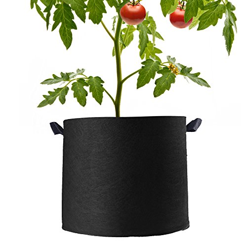 Beautyflier Pack of 5 Non-woven Plant Fabric Pots 5 Gallon Heavy Duty Grow Bags With Handles For Planting Round Glass Recycling Container