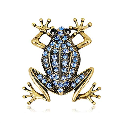 TtKj Brooch Europe and America Retro Animal Brooch Alloy Diamond Frog Brooch pin Jewelry Suit with Brooch 2 Piece Set ()