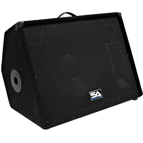 "Seismic Audio - Single 15"" Floor Monitor Studio, Stage, or Floor use - Pole mounts for PA/DJ Speaker - Bar, Band, Karaoke, Church, Drummer use"