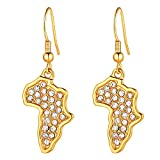 Product review for U7 Women Party Wedding Jewelry Set Platinum/18K Gold Plated Rhinestone Crystal Drop Earrings Necklace - African Style Jewelry Africa Map Design