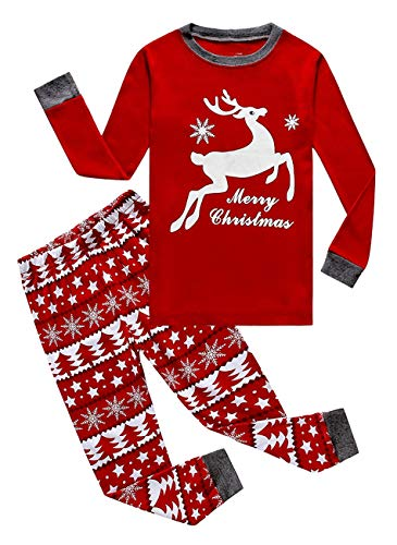 Family Feeling Little Girls Boys Long Sleeve Christmas Pajamas Sets 100% Cotton Pyjamas Kids Pjs Size 7 Reindeer