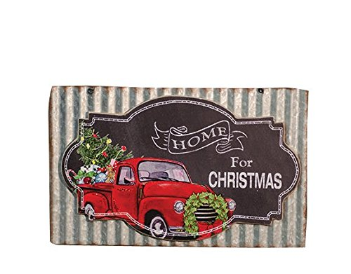 CWI Gifts Home for Christmas Chalkboard and Corrugated Metal Wall Sign, Multicolored