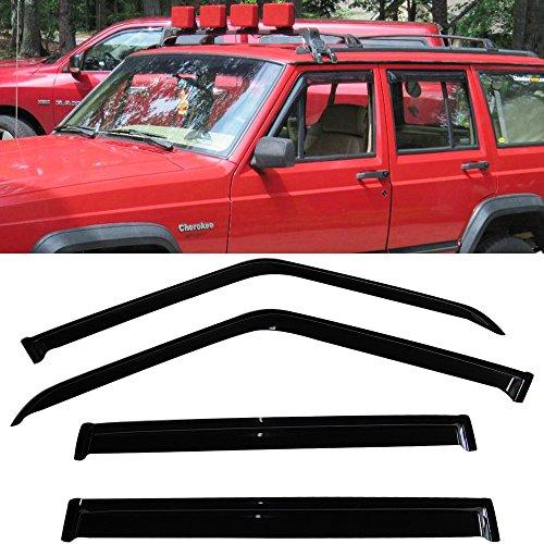IKON MOTORSPORTS Window Visor Fits 1984-2001 Jeep Cherokee | Slim Style Acrylic Smoke Tinted & Semi-Transparent