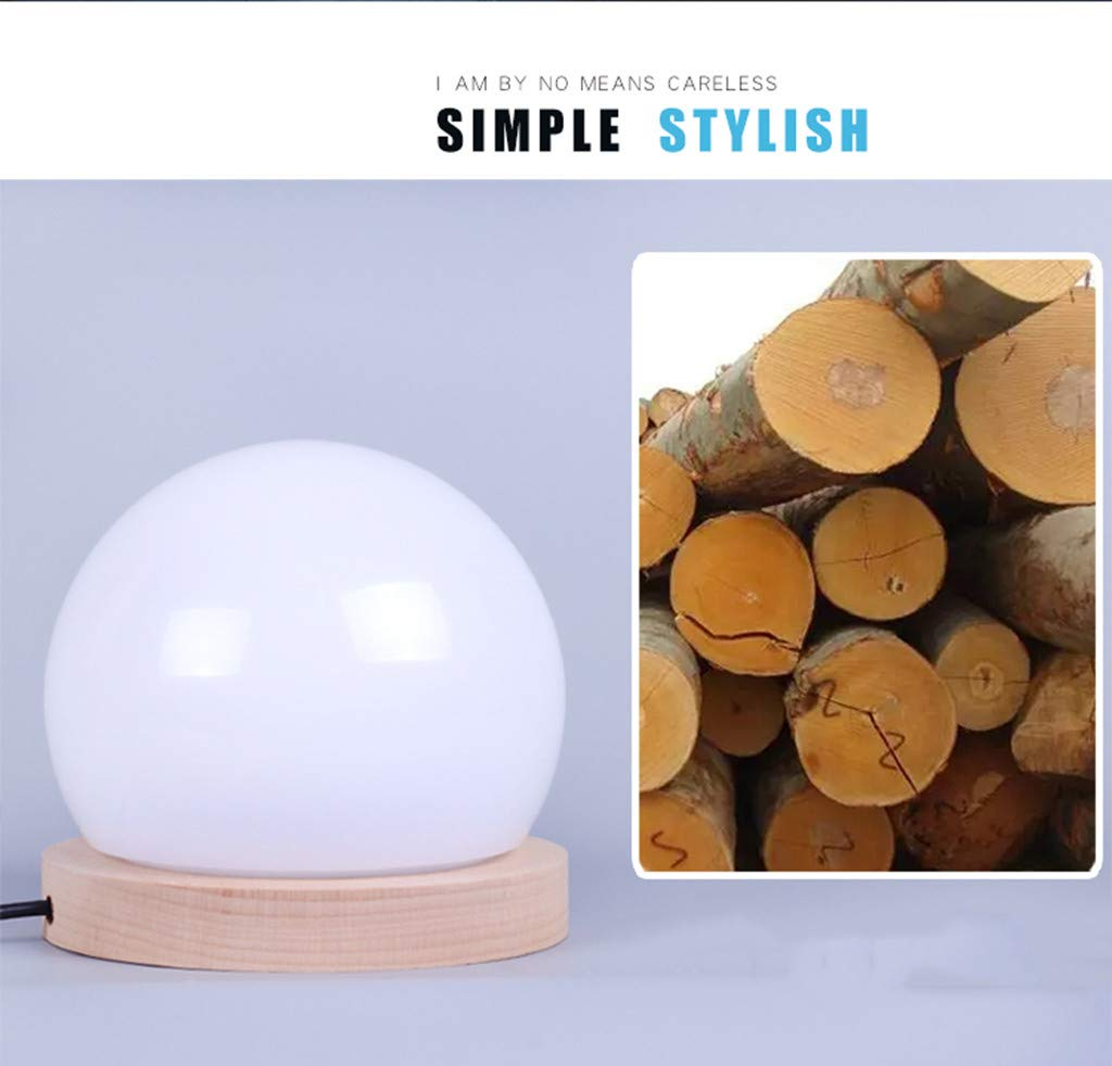 lotus.flower Creative LED Ball lamp Wooden Base USB Adjustable Brightness Color Room Decorate (Yellow) by Lotus.flower (Image #4)
