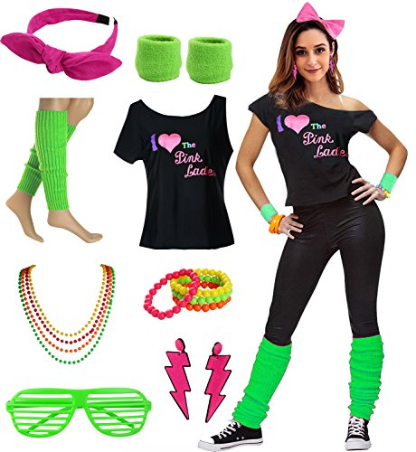 Women's I Love The Pink Ladies 50s T-Shirt Complete 50s 80s Costume Set (S/M, Green)