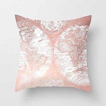 Amazon uoopoo rose gold pink antique world map cotton canvas uoopoo rose gold pink antique world map cotton canvas pillow case 16 x 16 inches square gumiabroncs Images
