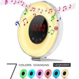 2017 Newest Colored Wake-up Light Alarm Clock,Weton Sunrise/Sunset Simulation Natural Sounds Alarm Clock for kids with FM Radio &Smart Snooze F
