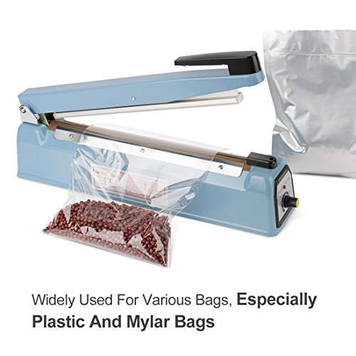 Metronic 16inch/400mm Manual Impulse Manual Hand Sealer Heat Sealing Machine Poly Tubing Plastic Bag with 2 Replacement Kit Blue by Metronic (Image #3)