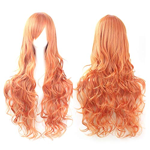 ☘️Wigs Hair for Women☘️RNTOP Cosplay Costume Wigs Women Long Curl Wavy Red Halloween Birthday Party Anime Stage Showing Hair with Bangs (N) ()
