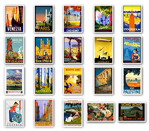 - VINTAGE TRAVEL POSTERS postcard set of 20. Post card variety pack of retro style poster postcards. Made in USA.