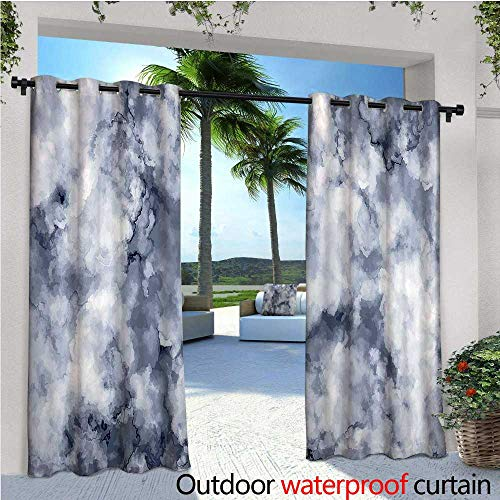 Marble Outdoor- Free Standing Outdoor Privacy Curtain Cloudy Stylized Artistic Marble Pattern with Foggy Effects Abstract Display for Front Porch Covered Patio Gazebo Dock Beach Home W96