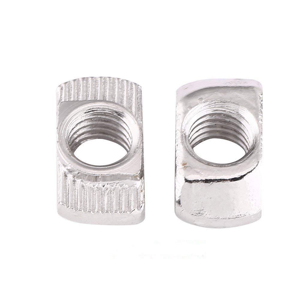 M5 EU40-M8 /× 19,5 /× 10 M8,Standard Europeo Profilo in Alluminio per Estrusione 50Pz T-Scanalatura Dado Femmina dArgento in Acciaio al Carbonio Placcato Zincato M4 M6