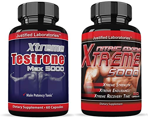 Xtreme Testrone Max 5000 Male Enhancement Testosterone Booster & Xtreme 5000 Nitric Oxide Booster L Arginine Improve Strength Recovery Muscle Growth