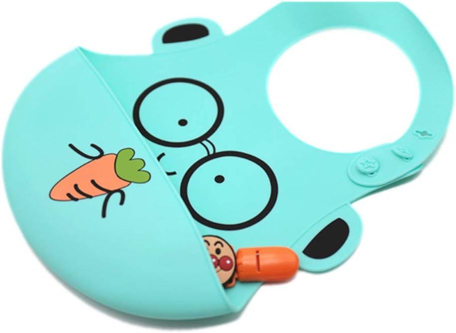 BEESCLOVER Cute Cartoon Baby Waterproof Bib Foldable Silicone Bib Blue Seal
