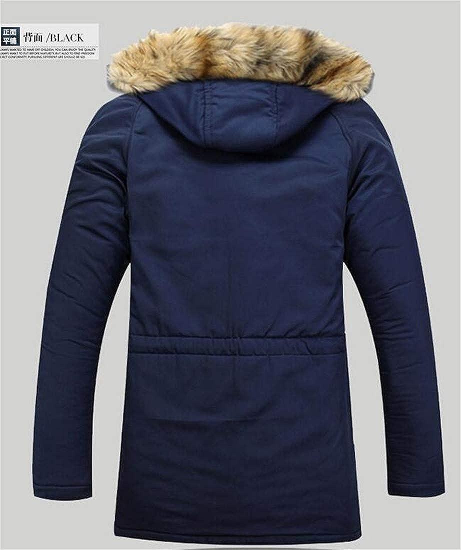 XiaoTianXinMen XTX Mens Fashion Faux Fur Hooded Cotton-Padded Thicken Parkas Jacket