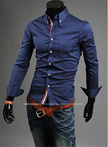Swimblue fashion business casual slim fit length-sleeved shirts men's dress shirts 5 colors 5 sizes BlackMedium