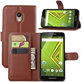 Excelsior Premium Leather Wallet Flip Cover Case For Motorola Moto X Play - Brown