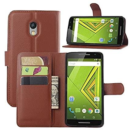 Excelsior Leather Wallet Flip Cover Case for Motorola Moto X Play   Brown Mobile Phone Cases   Covers