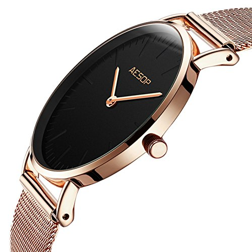 Ultra Thin Watches for Women,Rose Gold Ladies Watch Water Resistant Mesh Band Luxury Sports Womens Watches Analog Japanese Quartz Wrist Watches Female Watches on Sale,Black Dial,Big Face,AESOP Brand by XIN LINGYU (Image #1)