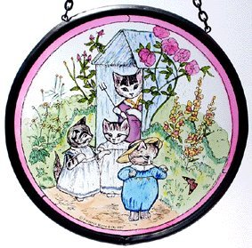 Decorative Hand Painted Stained Glass Window Sun Catcher/Roundel in Beatrix Potter's Tom Kitten - Kitten Glasses