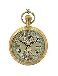 Timeconcept Tourbillon Moonphase Pure Copper Antique Style Men Mechanical Pocket Watch