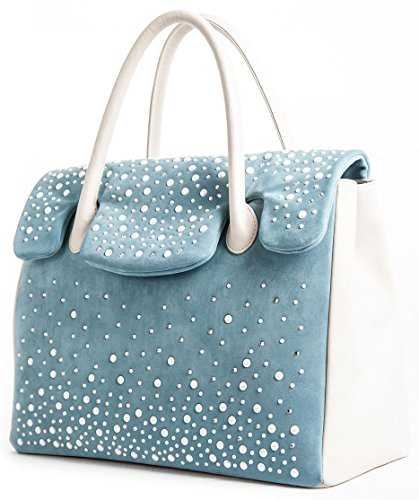 Kelly Perla - Borsa in vera pelle bicolore da donna a spalla o a mano azzurro e crema con mezze perle e Swarovski - Made in Italy