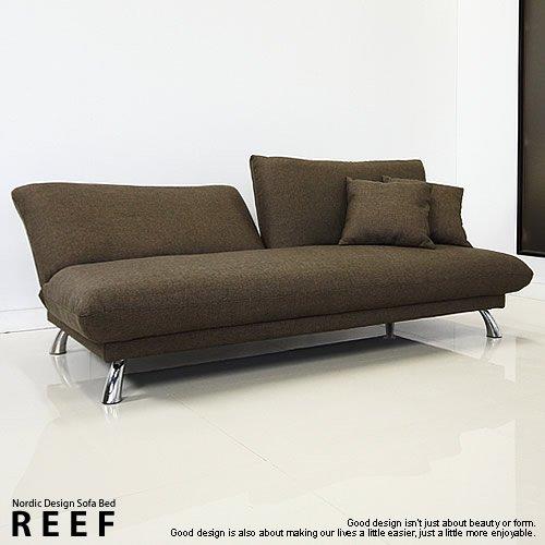 [北欧モダン]デザイナーズソファベッドREEFカカオオリーブ色家具 そふぁ一人暮らしブラウンリクライニングシンプルモダン