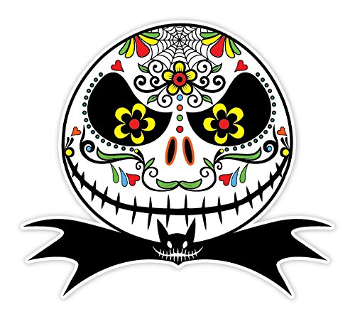 OSMdecals - Mexican Sugar Skull Version 107 Jack Skellington Nightmare Before Christmas Funny Sticker Decal - Day of the Dead Home Decor Car Window Bumper Decal Sticker - SAME PRICE ALL SIZE!