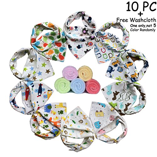 - 10-pack Unisex Baby Bandana Drool Bibs FREE Baby Washcloth, Boys and Girls Absorbent Cotton Bibs Super-Stylish Anti-Bacterial Apron Bibs Quick Dry Avoids Drool Rash with Nickel-Free Snaps