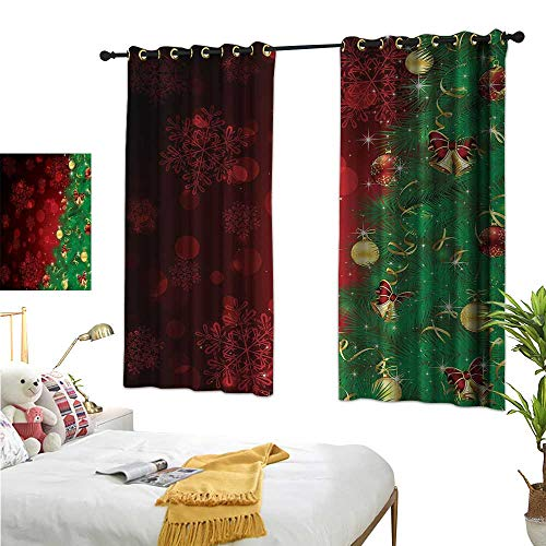 (Christmas Decor Curtains by Trippy Xmas Tree Backdrop Traditional Rituals Themed Jingle Artisan Design W55 x L39,Suitable for Bedroom Living Room Study,)